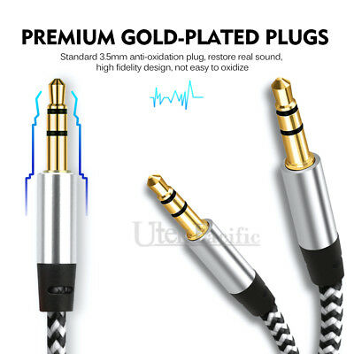 3.5mm Jack Audio Cable Male to Male AUX Cord for Car Phone - Braided Gold Plated 2