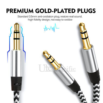 3.5mm Male to Male AUX Stereo Audio Cable Speaker Auxiliary Cord 2