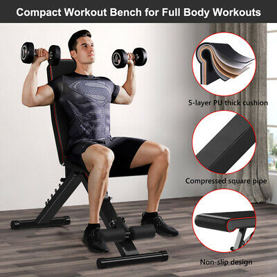 EasyBuild Adjustable Folding Olympic Weight Bench - Upright to Decline Black 5