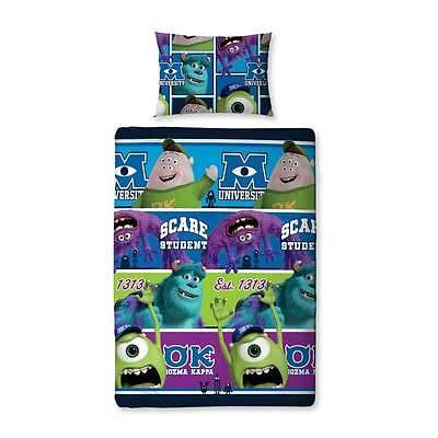 Childrens Disney Pixar Monsters Inc University - Reversible Single Duvet Set NEW