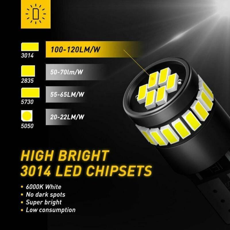 2X T10 501 194 W5W SMD 24 LED Car CANBUS Error Free Wedge Light Bulb White 4