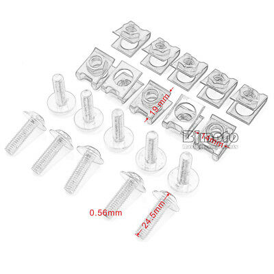 10PCS 6mm M6 Fairing Bolts Speed Fastener Clip Screw Nuts Motorcycle Universal 6