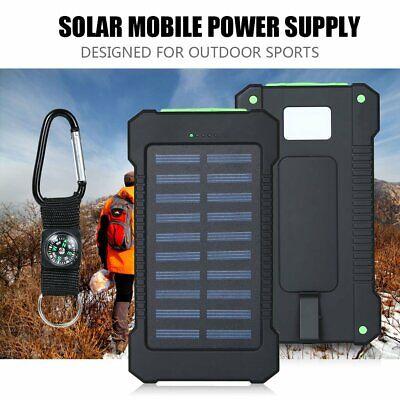 Solar Waterproof 500000mAh Power Bank 2 USB LED External Battery Fr Mobile Phone 3