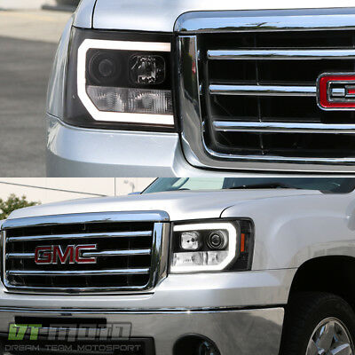 Black 2007 2017 Gmc Sierra 1500 2500hd 3500hd Led Drl Projector Headlights 2