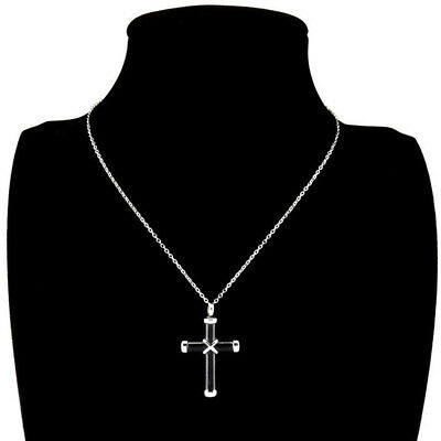 Black & Silver Cremation Urn Ashes Holder Stainless Memorial Men Cross Necklace 8