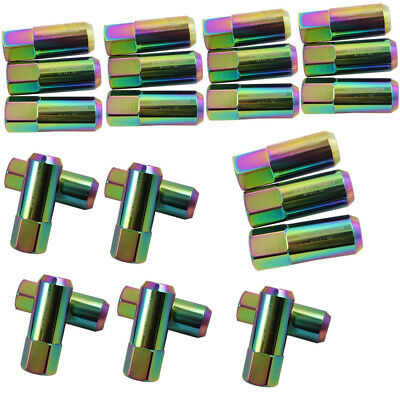 Neo Chrome 20Pc 14X1.5Mm 60Mm Extended Forged Aluminum Tuner Racing Lug Nut