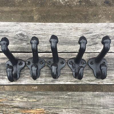 """Lot5 Cast Iron Wall Coat Hooks Hat Hook Hall Tree 2 3/4"""" Vintage Style Black 4"""