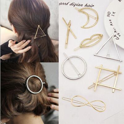 Women's Girls Geometric Metal Hair Clips Barrette Slide Grips Hair Clip Hairpins 8