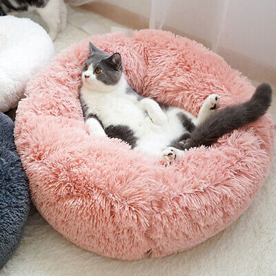 Pet Dog Cat Calming Bed Warm Soft Plush Round Cute Nest Comfortable Sleeping UK 8