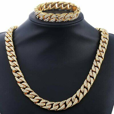 Jewelry Set Mens Yellow Gold Filled Curb Link Necklace Bracelet Chain Hip Hop 2