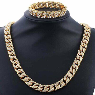 Men Hip Hop 14mm Miami Curb Cuban Gold Filled Necklace Bracelet Set Chain 2