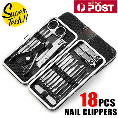 18PCS Manicure Pedicure Stainless Toe Nail Clippers Kit Cuticle Grooming Tools 12