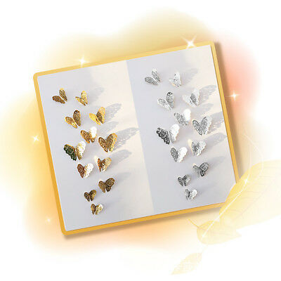 12 Pcs 3D Hollow Wall Stickers Butterfly Fridge For Home Decoration Stickers 10