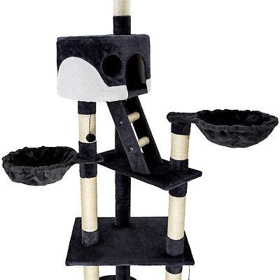 Arbre à chat griffoir grattoir jouet animaux douillet geant peluché noir blanc 4