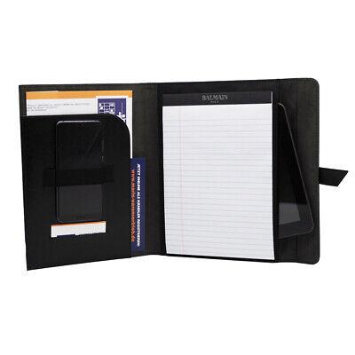Portfolio A5 schwarz gestanzte Loch-Optik Schreibmappe Schreibblock liniert BWI