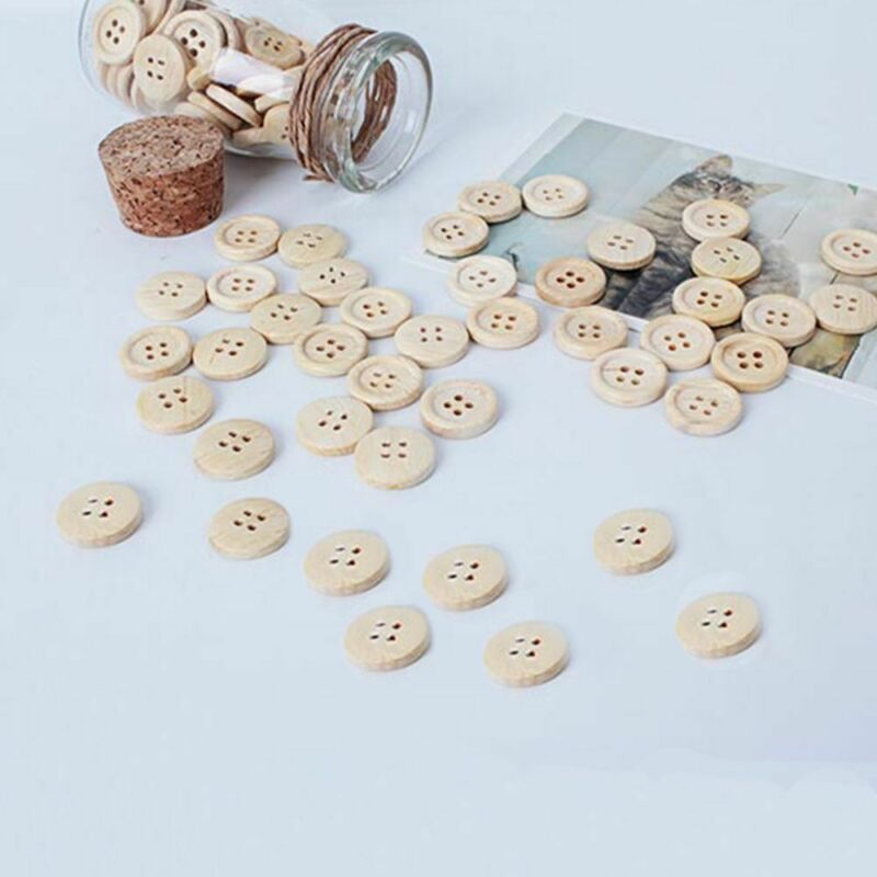 50pcs pattern Wood Buttons 4 Holes Sewing 15mm 18mm 25mm Craft Lots DIY 2