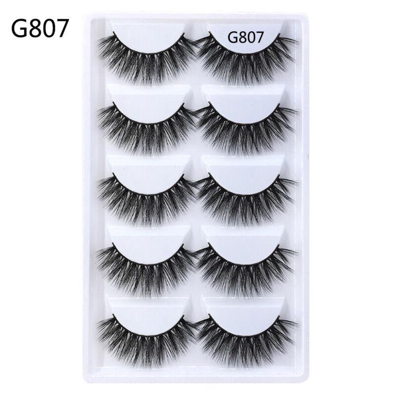 c5650ae0a23 SK 5 Pairs 3D Mink Hair False Eyelashes Handmade Wispy Cross Long Lashes  Makeup 10 10 of 12 ...