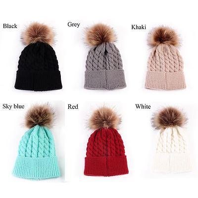 Newborn Girls Boys Kids Beanie Baby Knitted Hat Pom Pom Ball Wool Fur 5