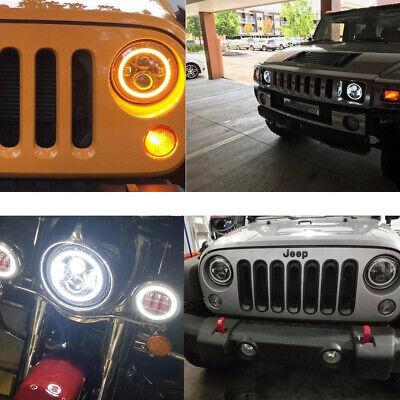 "Pair 7"" INCH LED Headlights Halo Angle Eye For Jeep Wrangler TJ CJ JK LJ 97-18 8"