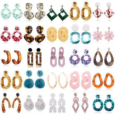 Women Boho Geometric Dangle Drop Hook Acrylic Resin Ear Stud Earrings Jewelry