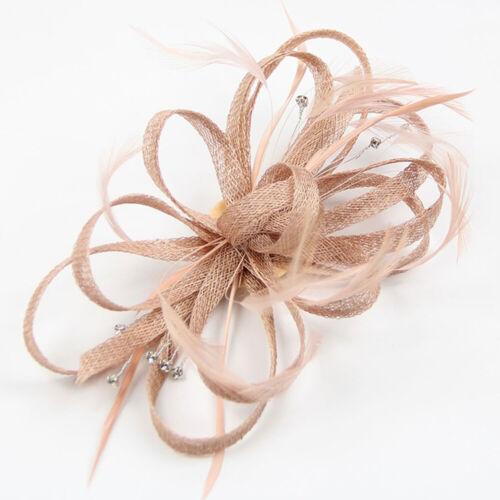 Ladies Womens Elegant Sinamay Flower Feather Headband Fascinator Hair Band 3