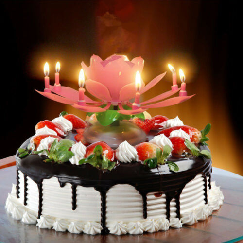 Musical Lotus Flower Rotating Happy Birthday Party Gift Candle Light Cake Decor 2 Of 11