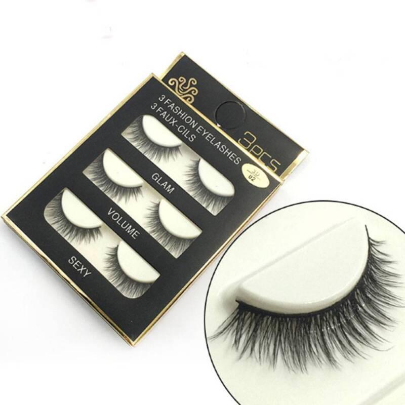 3 Pairs Natural False Eyelashes Fake Lashes Makeup 3D Faux Mink Extension 3