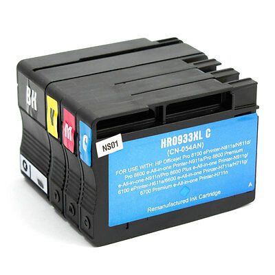 4X Non-Oem 932Xl 933Xl Ink Cartridges Hp Officejet 6100 6600 6700 7110 7610 7612