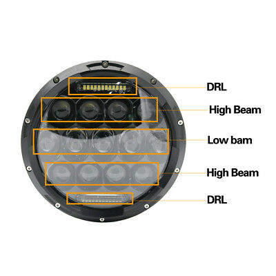 "Pair 7"" INCH 75W LED Headlight Hi/Lo Beam DRL Fit Jeep Wrangler CJ JK LJ Camaro 10"