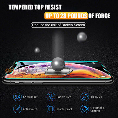 Tempered Glass Screen Protector Apple iPhone 11 Pro XS Max XR 8 7 6S Plus 5S SE 9