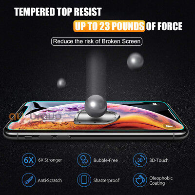 Tempered Glass Screen Protector For Apple iPhone X XS Max XR 8 7 6 6S Plus 5S SE 9