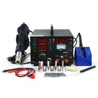 3 in 1 853d SMD DC Power Supply Hot Air Iron Gun Rework Soldering Station 700W 4