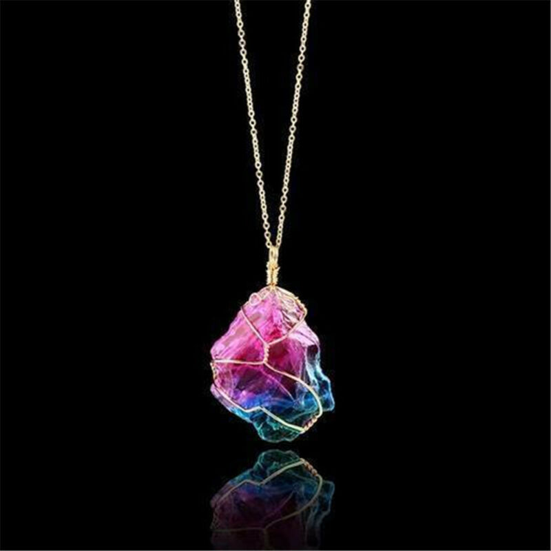 Rainbow Stone Natural Crystal Chakra Rock Chain Quartz Pendant Necklace Jewelry 3