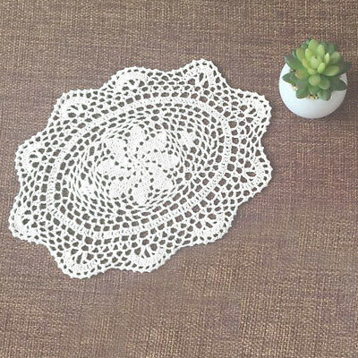 "4Pcs/Lot White Cotton Lace Vintage Hand Crochet Doilies Oval Placemats 10""x13"" 3"