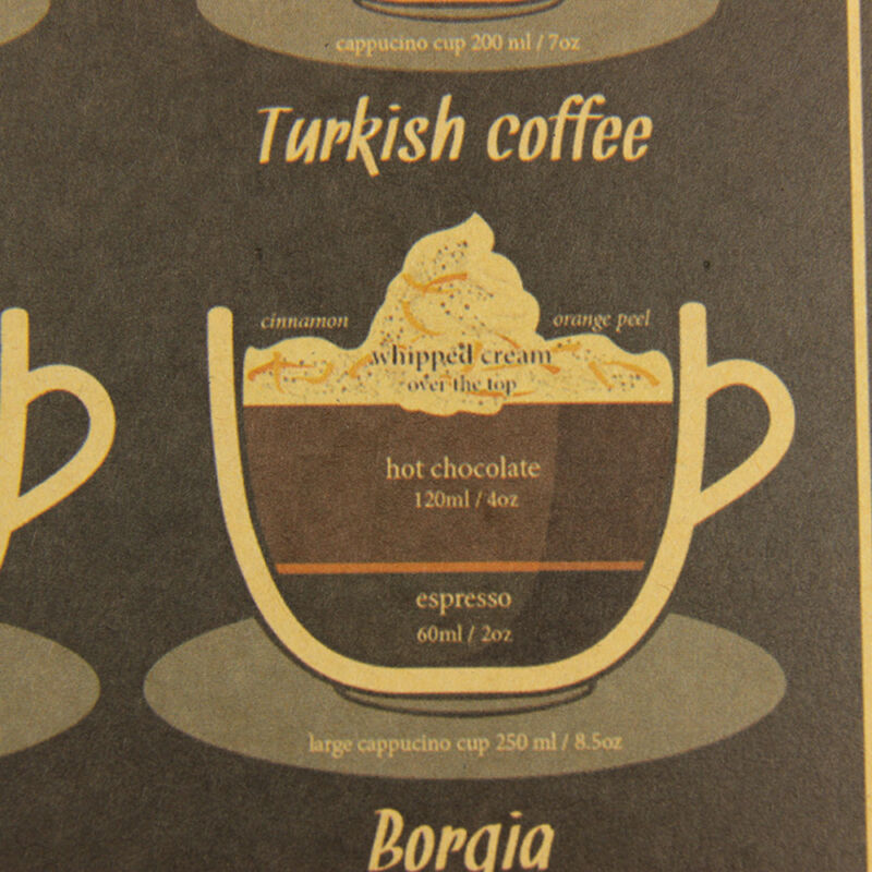 Coffee Bar Decoration Kraft Paper Retro Poster Vintage Picture Wall Sticker 3
