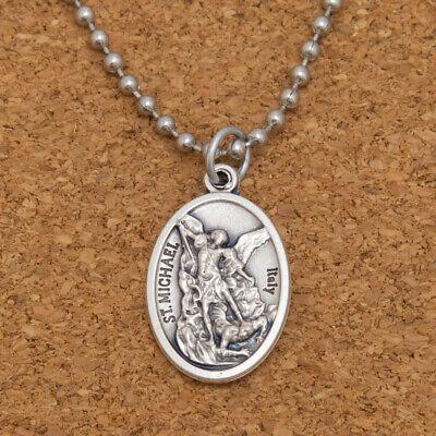 "Patron Saint St Michael The Archangel 1"" Medal Pendant Necklace 24"" Chain Italy 10"