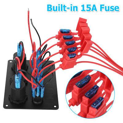 AU Switch Panel 12V USB ON-OFF Toggle 5 GANG Blue LED Rocker for Car Boat Marine 7