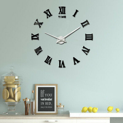 DIY 3D Large Number Mirror Wall Clock Sticker Decor for Home Office Kids Room 7