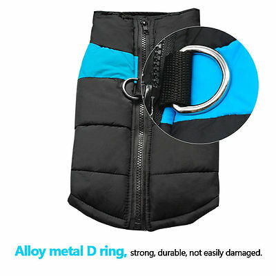 Waterproof Pet Dog Warm Padded Vest Coat Clothes Puppy Winter Jacket Apparel UK 11