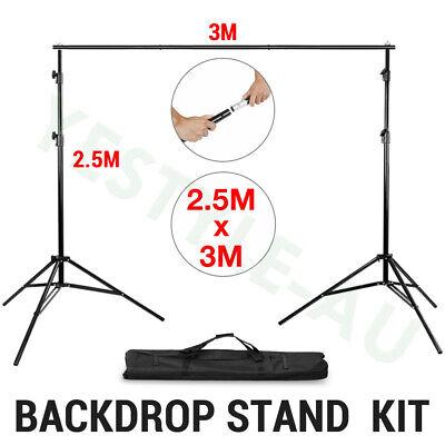 3x3.6m/3x6m Photography Studio Cotton Green Black White Backdrop+Stand Kit 9