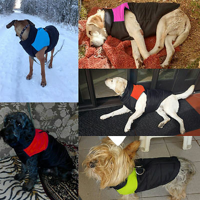 Waterproof Pet Dog Warm Padded Vest Coat Clothes Puppy Winter Jacket Apparel UK 8