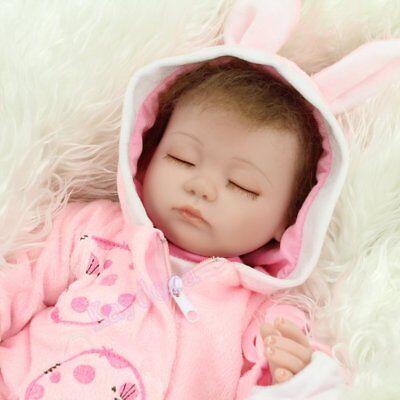 "Handmade Lifelike Realistic 16"" Sleeping Newborn Vinyl Silicone Reborn Baby Doll"