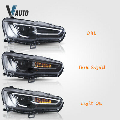 VLAND Fit For Mitsubishi Lancer / EVO X LED HeadlightS Lamp Pair Set Assembly 10