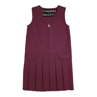 Girls School Uniform Pinafore  Box Pleated Elasticated waist school kids Skirt 4