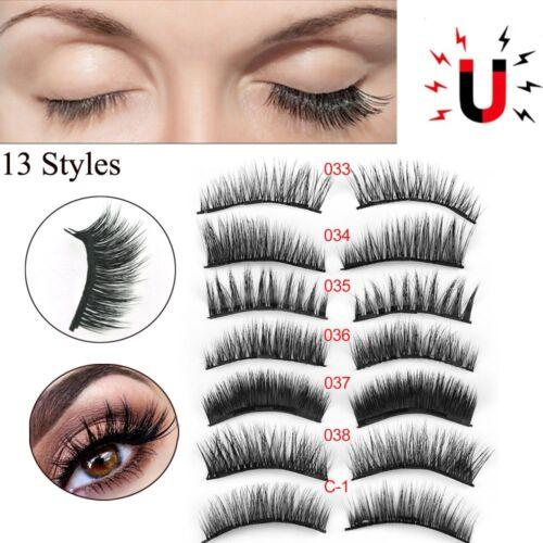 3D Magnetic False Eyelashes No Glue Handmade Natural Extension Eye Lashes Thick 3