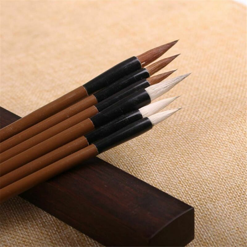 Traditional Chinese Calligraphy White Clouds Bamboo Wolf's Hair Writing Brush 7