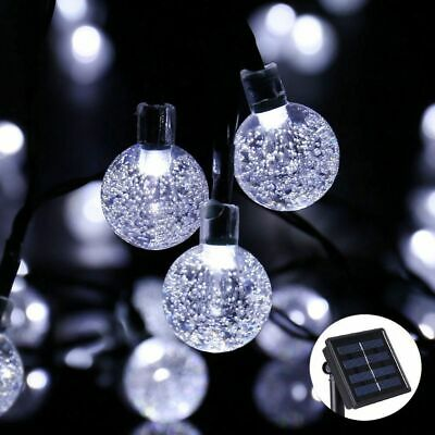 50 LED solaire de jardin alimenté fée partie chaîne boule de cristal lumière 7