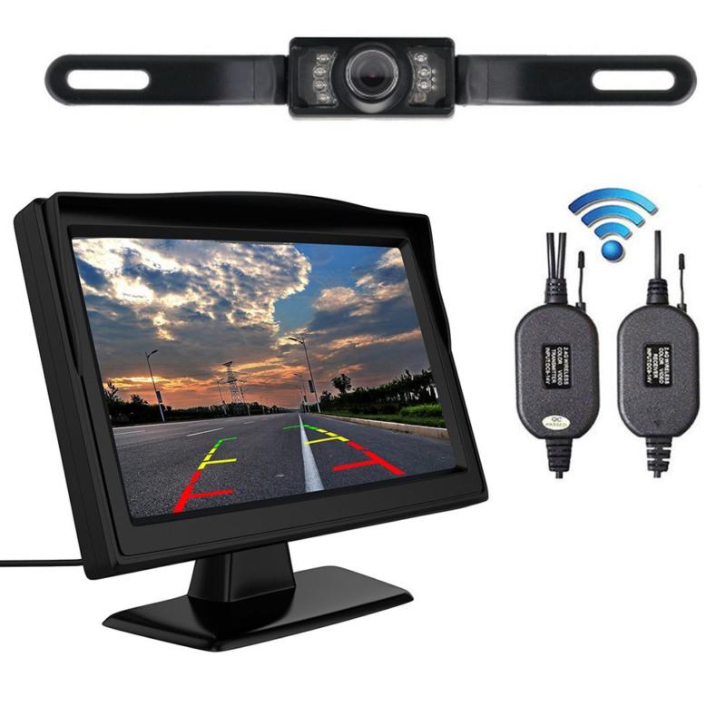 "5"" Monitor Car Rear View System Backup Reverse Camera Night Vision Kit Wireless 4"