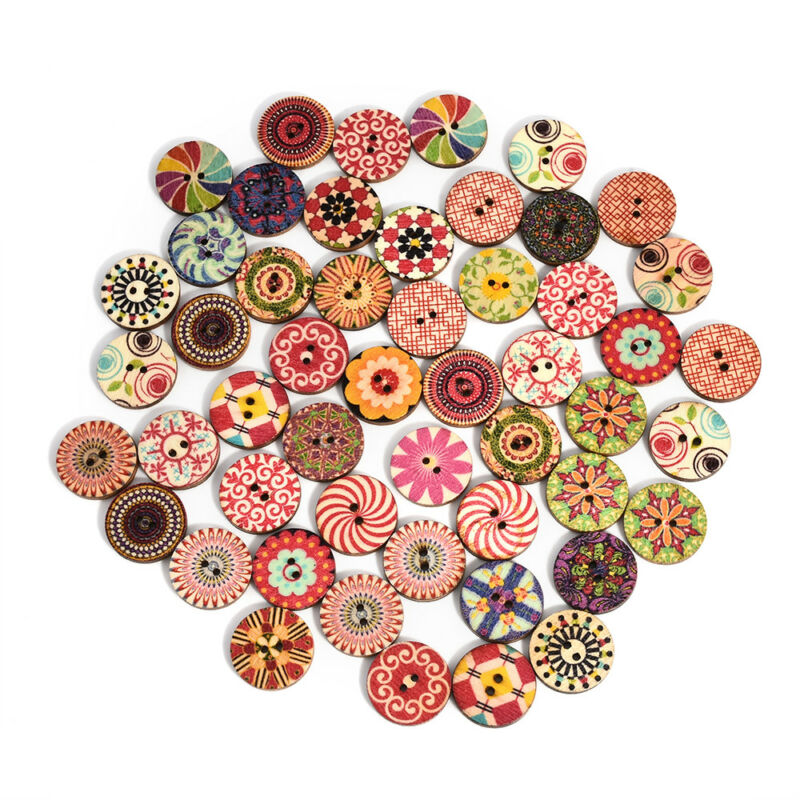 50Pcs/lot Flower Picture Wood Button 2 Holes Mixed Color Apparel Sewing DIY Gift 2