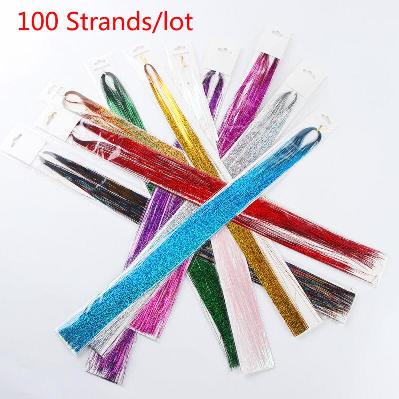 100 Strands Hair Tinsel Bling Silk Hair Flare Strands Glitter Rainbow Hair Decor 7